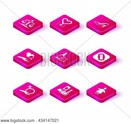 Set Female Gender, Money Growth Woman, Heart With Female, Lipstick, Sanitary Napkin, Woman Shoe And