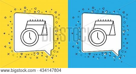 Set Line Calendar And Clock Icon Isolated On Yellow And Blue Background. Schedule, Appointment, Orga
