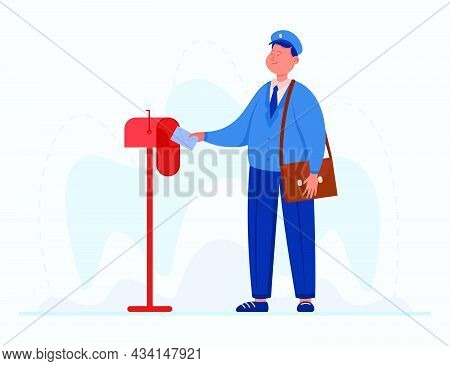 Smiling Postman Putting Letter Into Mailbox. Male Cartoon Character In Uniform With Bag Delivering E