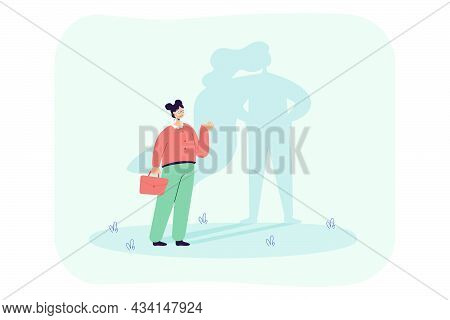 Successful Cartoon Woman With Superhero Shadow. Strong And Brave Female Business Leader Flat Vector