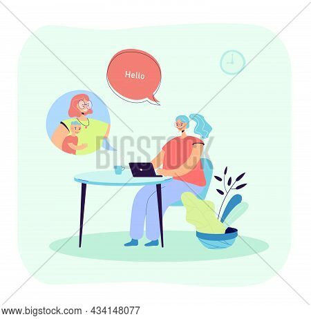 Woman Talking To Friend Or Colleague Through Online Service On Laptop. Girl Having Video Call With F