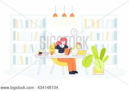 Young Woman Reading Book In Library Interior. Flat Vector Illustration. Cartoon Lady Studying In Roo