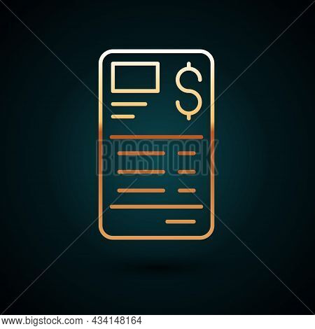 Gold Line Paper Or Financial Check Icon Isolated On Dark Blue Background. Paper Print Check, Shop Re