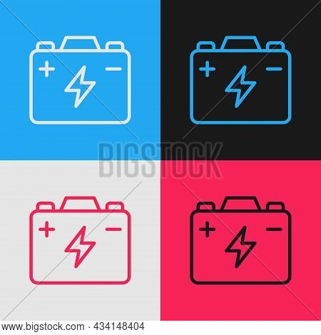 Pop Art Line Car Battery Icon Isolated On Color Background. Accumulator Battery Energy Power And Ele