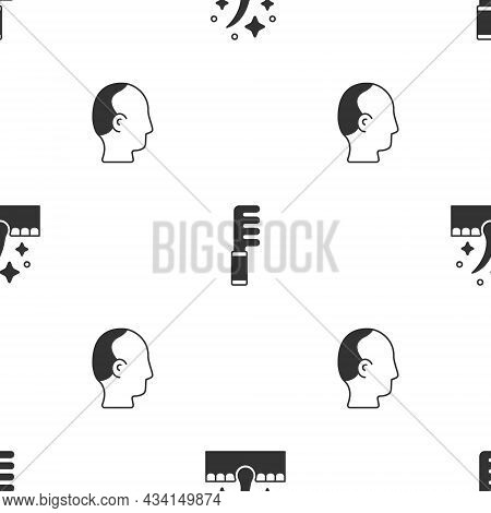 Set Oil For Hair Care Treatment, Hairbrush And Baldness On Seamless Pattern. Vector