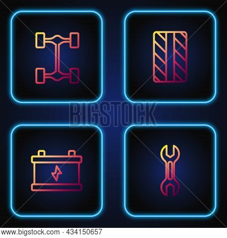 Set Line Wrench Spanner, Car Battery, Chassis Car And Tire Wheel. Gradient Color Icons. Vector