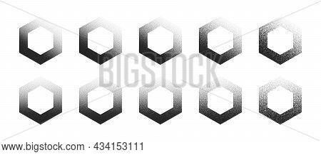 Stippled Hexagon Hand Drawn Dotwork Vector Abstract Shapes Set In Different Variations Isolated On W