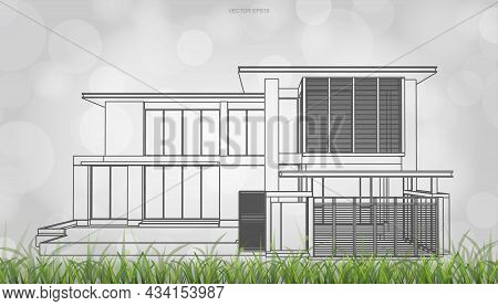 Conceptual Image Of House Perspective Render. 3d Wireframe Rendering With Light Blurred Bokeh Backgr
