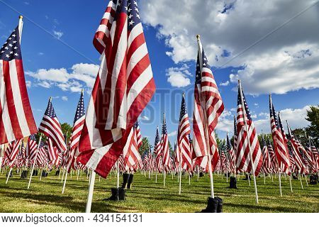 Rows Of American Flags In Honor Of 9/11 Victims