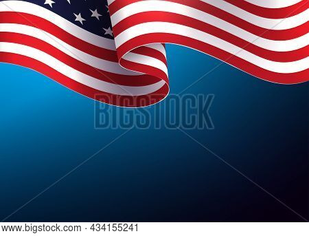 Blue Illustration With Waving Usa Flag, Independence Day, Design Element
