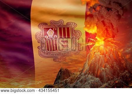 Stratovolcano Blast Eruption At Night With Explosion On Andorra Flag Background, Suffer From Eruptio