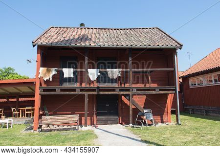 Sweden, Trosa - June 07 2019: The View Of Typical Building At Garvaregarden, Museum And Former Artis