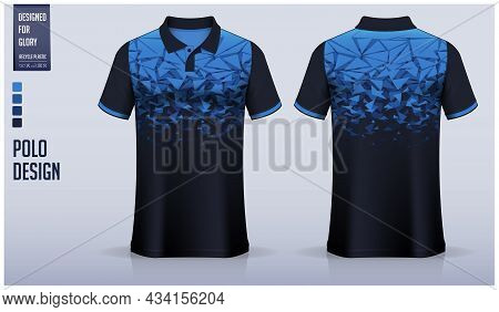 Blue Polo Shirt Mockup Template Design For Soccer Jersey, Football Kit, Sportswear. Sport Uniform In