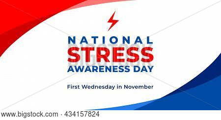 National Stress Awareness Day. Vector Web Banner, Background, Poster, Card For Social Media, Network