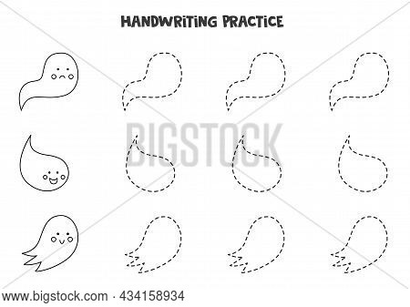 Tracing Lines For Kids With Black And White Ghosts. Handwriting Practice.