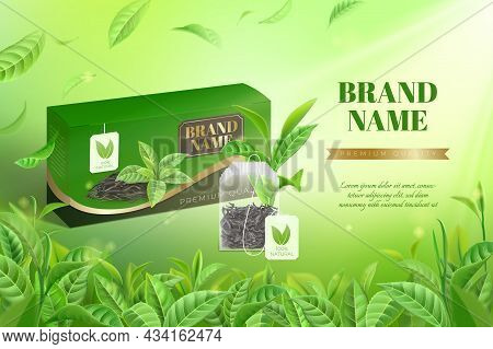 Tea Advertisement. Realistic Box With Green Or Black Premium Teabags. Green Leaves On Blurred Backgr