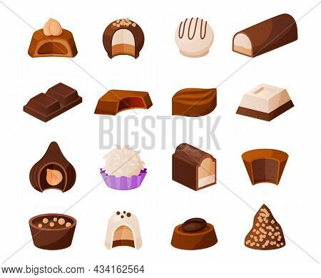 Cartoon Chocolate Candies. Sweet Milk Cacao Desserts With Topping And Nuts. Delicious Confection Tem