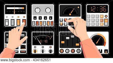 Retro Dashboard. Hands On Radio Control Panel With Switches. Technical Connection Ports. Tuners And