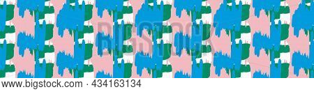 Playful Fresh Doodle Geo Shape Seamless Border. Modern Trendy Minimal Retro Style Motif Edging Trim.
