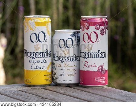 Hoegaarden, Belgium, September 25, 2021, The Three Beer Brands Of Hoegaarden Beer Contain 0.0 Percen