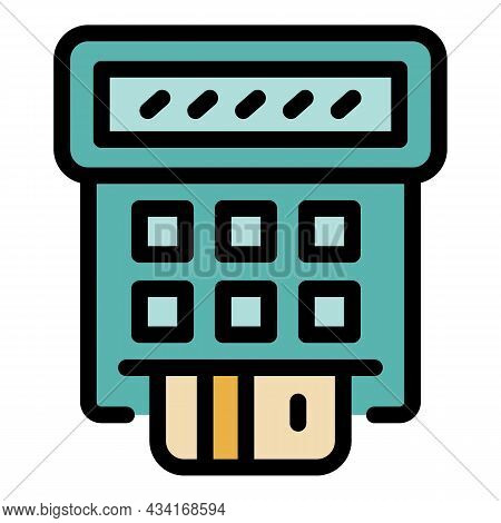 Credit Card Payment Icon. Outline Credit Card Payment Vector Icon Color Flat Isolated