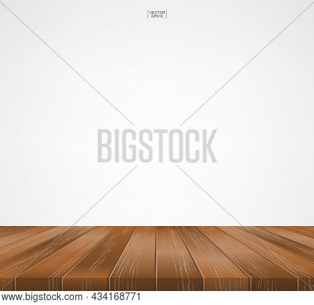 Wood Floor Pattern And Texture For Background. Perspective View Of Wooden Floor On White Background