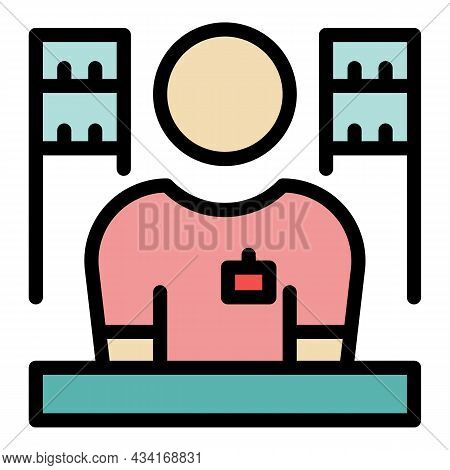 Store Salesman Icon. Outline Store Salesman Vector Icon Color Flat Isolated