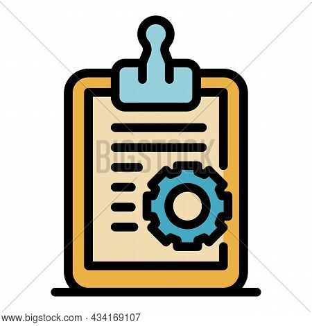 Clipboard Service Icon. Outline Clipboard Service Vector Icon Color Flat Isolated