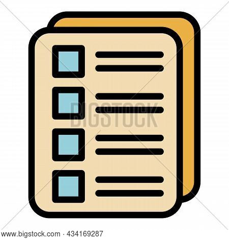 Check List Icon. Outline Check List Vector Icon Color Flat Isolated