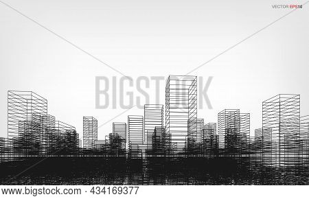 Perspective 3D Render Of City Wireframe. Wireframe City Background Of Building. Vector.