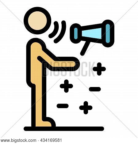 Marketing Specialist Icon. Outline Marketing Specialist Vector Icon Color Flat Isolated