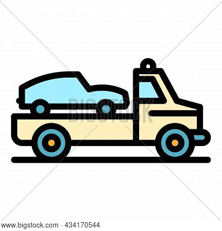 Car Tow Truck Icon. Outline Car Tow Truck Vector Icon Color Flat Isolated