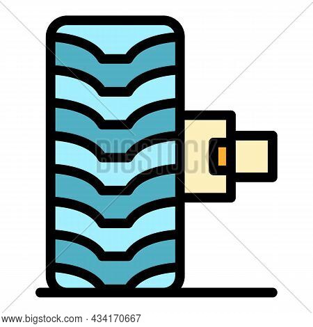 Car Tire Fix Icon. Outline Car Tire Fix Vector Icon Color Flat Isolated