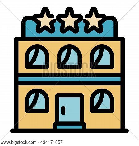 Tourism Hotel Star Icon. Outline Tourism Hotel Star Vector Icon Color Flat Isolated