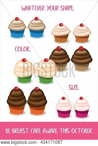 Breast Care Awareness Poster Featuring Cupcakes To Represent The Breasts Of Women Of Different Shape