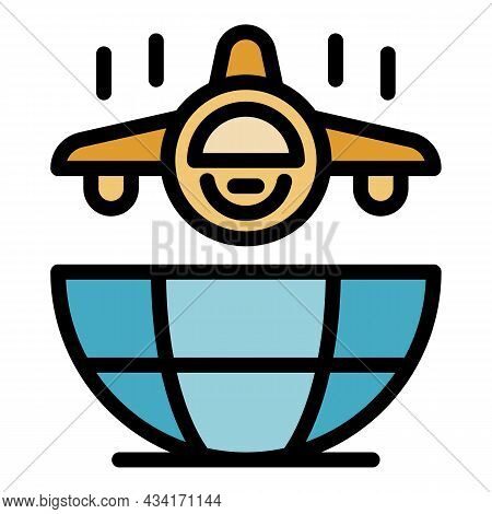 Global Fly System Icon. Outline Global Fly System Vector Icon Color Flat Isolated