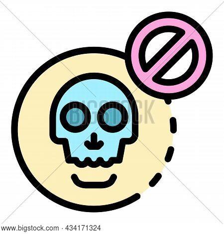 No Death Icon. Outline No Death Vector Icon Color Flat Isolated