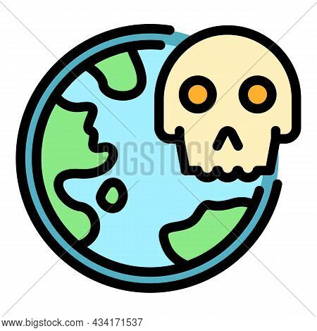 World Coronavirus Death Icon. Outline World Coronavirus Death Vector Icon Color Flat Isolated