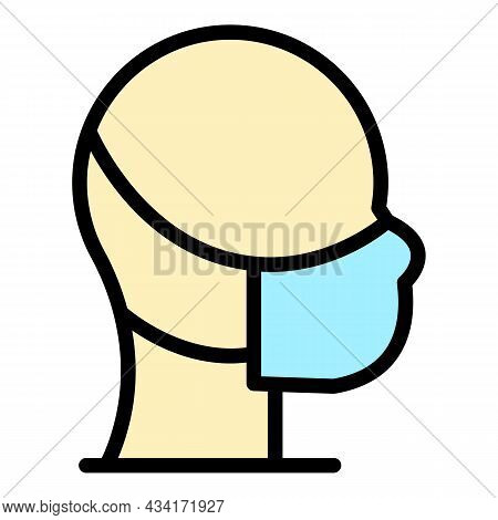 Face Medicine Mask Icon. Outline Face Medicine Mask Vector Icon Color Flat Isolated