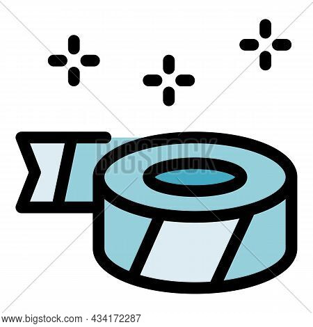 Price Tag Tape Icon. Outline Price Tag Tape Vector Icon Color Flat Isolated