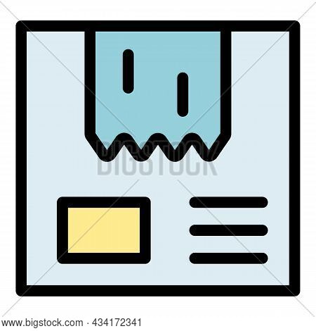 Adhesive Tape On The Package Icon. Outline Adhesive Tape On The Package Vector Icon Color Flat Isola
