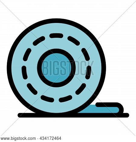 Cellophane Tape Roll Icon. Outline Cellophane Tape Roll Vector Icon Color Flat Isolated