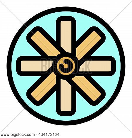 Ventilation Fan Icon. Outline Ventilation Fan Vector Icon Color Flat Isolated