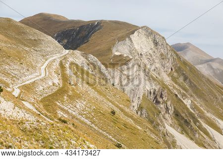 Panoramic View Of Passo Cattivo With The Big Landslide Caused By The Earthquake Of 2016, National Pa