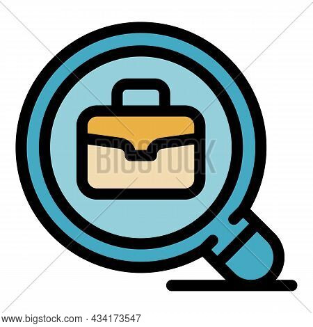 Search Work Place Icon. Outline Search Work Place Vector Icon Color Flat Isolated