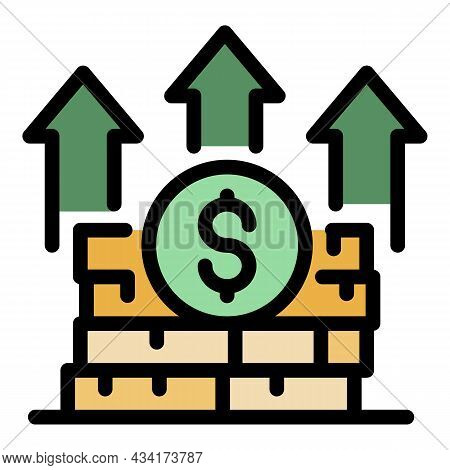 Grow Up Money Stack Icon. Outline Grow Up Money Stack Vector Icon Color Flat Isolated