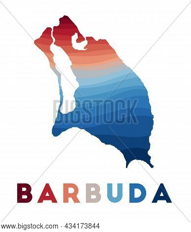 Barbuda Map. Map Of The Island With Beautiful Geometric Waves In Red Blue Colors. Vivid Barbuda Shap