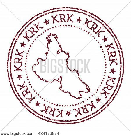 Krk Round Rubber Stamp With Island Map. Vintage Red Passport Stamp With Circular Text And Stars, Vec