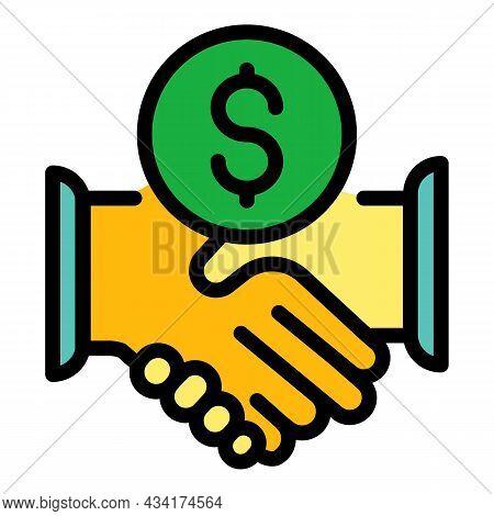 Broker Money Handshake Icon. Outline Broker Money Handshake Vector Icon Color Flat Isolated