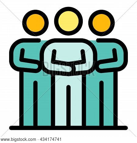 Broker Work Group Icon. Outline Broker Work Group Vector Icon Color Flat Isolated
